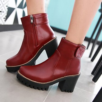 Daily Chunky Heel Zipper Round Toe Boots