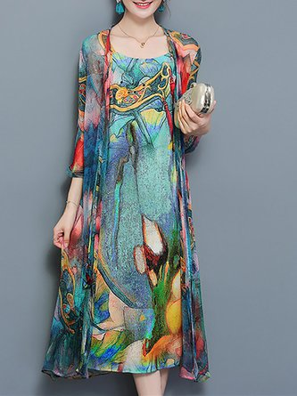 Multicolor Swing Floral Boho  Dress With Coat Two-Piece Set