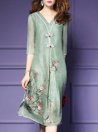 V neck Green Shift Daily 3/4 Sleeve Vintage Printed Floral Midi Dress