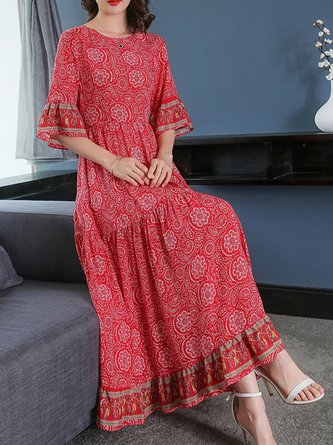 Red Maxi Dress A-line Daytime Printed Tribal Dress