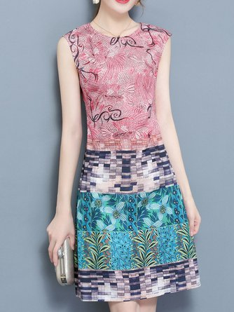 Pink Midi Dress Daytime Casual Printed Dress
