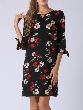 Keyhole Black Midi Dress Shift Half Sleeve Printed Dress