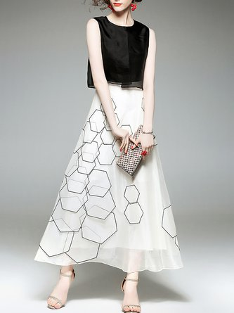 Daily Silk Vintage Geometric Midi Dress