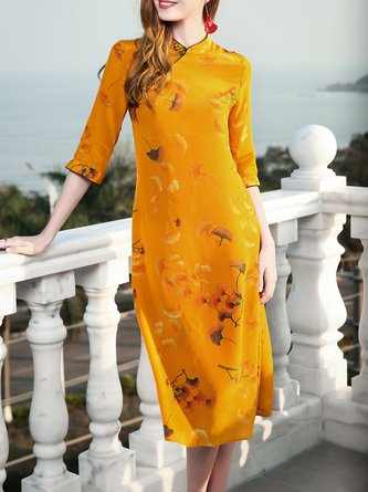 Stand Collar Yellow Midi Dress A-line 3/4 Sleeve Elegant Printed Floral Dress
