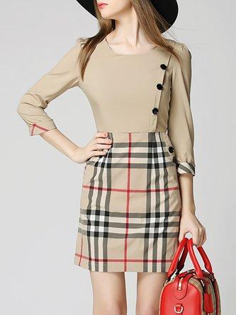 Midi Dress A-line Daily 3/4 Sleeve Paneled Dress