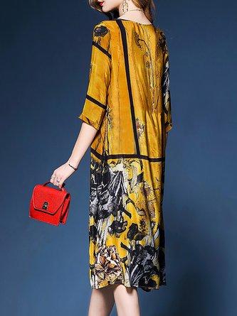 Yellow Shift Daily Chiffon Half Sleeve Midi Dress