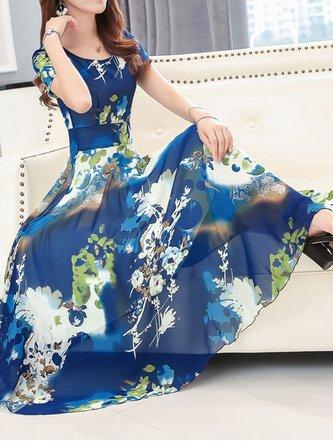 Dark blue Midi Dress A-line Beach Short Sleeve Floral Dress