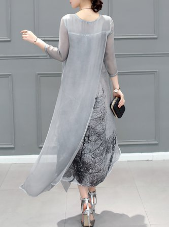 Gray Asymmetrical Daily Vintage Midi Dress