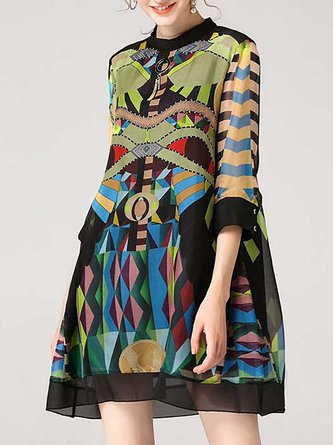 Date Half Sleeve Chiffon Printed Geometric Party Midi Dress