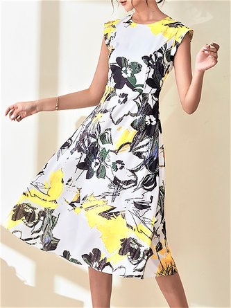 Date Sleeveless Casual Printed Floral Party Midi Dress