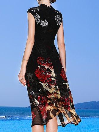 Stand Collar Black  Sleeveless Holiday Printed Floral Midi Dress