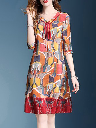 Multicolor Shift Beach Holiday 3/4 Sleeve Abstract Midi Dress
