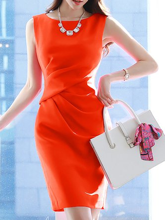 Orange Midi Dress Sheath Daytime Work Solid Dress