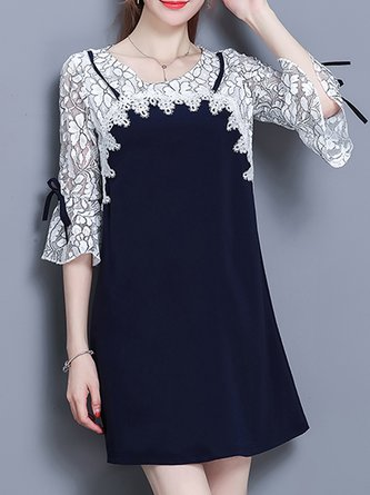 Dark blue Midi Dress A-line Date Sweet Cotton-blend Dress