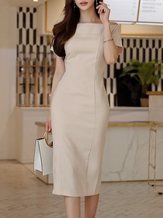 Bateau/boat neck Apricot Midi Dress Sheath Date Elegant Solid Dress