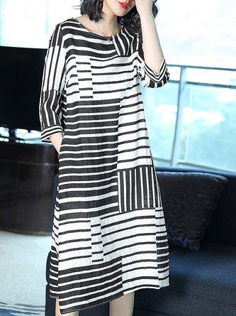 Black-white Shift Daytime 3/4 Sleeve  Striped Midi Dress