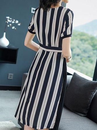 Black-white A-line Date Short Sleeve Asymmetric Striped Midi Dress