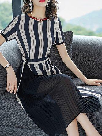 Black-white A-line Date Asymmetric Striped Statement Midi Dress