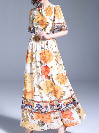 Multicolor Maxi Dress Swing Date Bell Sleeve Casual Dress