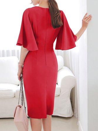 Surplice Neck  Midi Dress Bodycon Date Slit Solid Dress