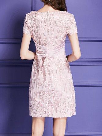 Pink Midi Dress Party Short Sleeve Elegant Dress