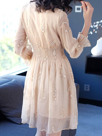 Apricot Midi Dress Daytime Embroidered Plain Dress