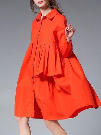 Shirt Collar Shift Cotton Statement Midi Dress