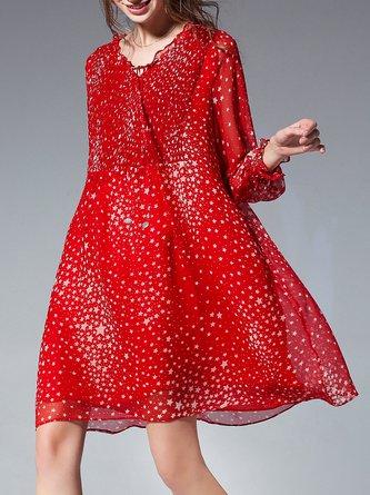 V neck  Shift Beach Long Sleeve Holiday Printed Geometric Midi Dress