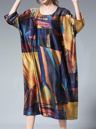 Shift Daytime 3/4 Sleeve Printed Abstract Midi Dress