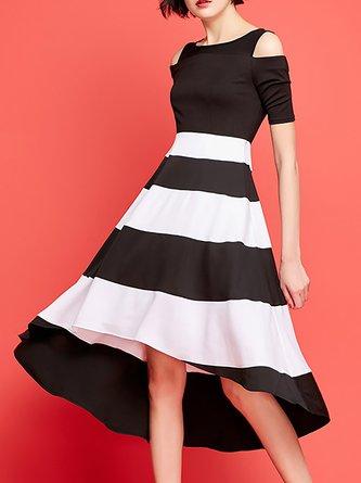 c06661891e67 Cold Shoulder Black Date Work Cold Shoulder Asymmetric Party Midi Dress