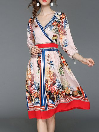 Multicolor Midi Dress A-line Daytime 3/4 Sleeve Holiday Dress