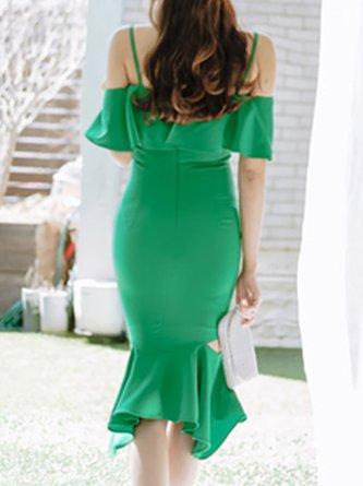 Green Midi Dress Mermaid Date Cutout Solid Dress