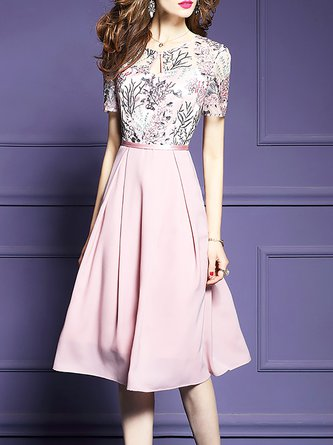 Pink Midi Dress A-line Party Elegant Embroidered Dress