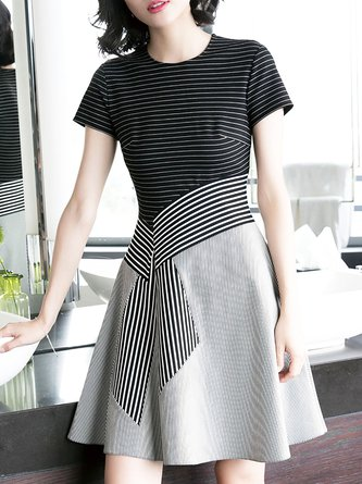 Black Striped Midi Dress A-line Short Sleeve Casual Dress