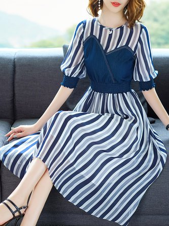 Dark blue Midi Dress A-line Daytime Half Sleeve Casual Dress