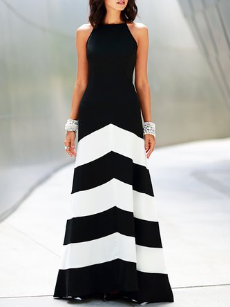 Halter Black Sleeveless Color-block Evening Maxi Dress