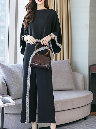 3/4 Sleeve Two Piece Asymmetric Bateau neck Two Piece Outfits