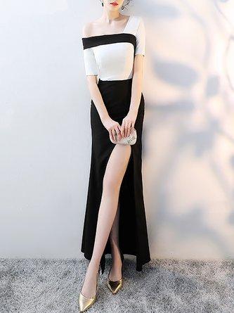 Black-white Midi Dress Sheath Party Short Sleeve Evening Dress