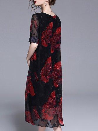 Black-Red Midi Dress Shift Beach Short Sleeve Printed Dress