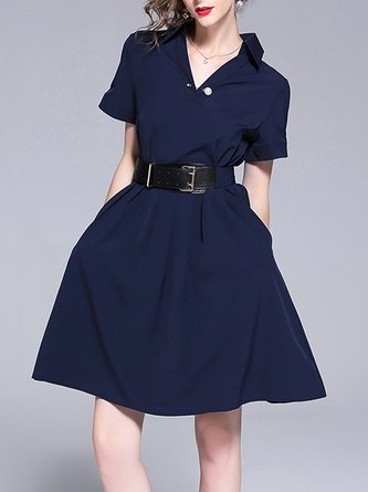 Shirt Collar Navy Blue Work Short Sleeve Solid Midi Dress