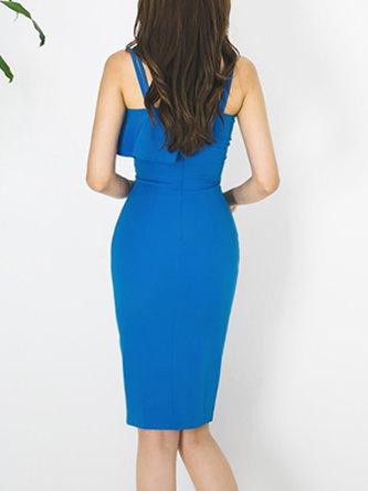 Spaghetti Royal blue Midi Dress Bodycon Date Spaghetti Party Dress