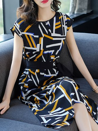 Multicolor Midi Dress Date Short Sleeve Printed Dress