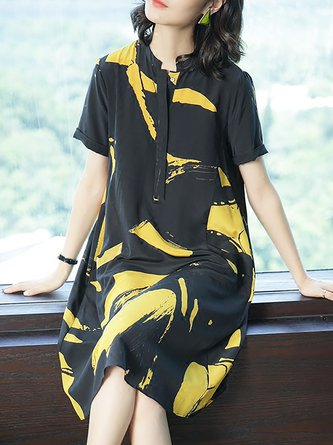 Black-Yellow Shift Date Short Sleeve Holiday Printed  Midi Dress
