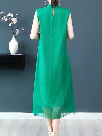 Stand Collar  Midi Dress Daytime Sleeveless Chiffon Dress