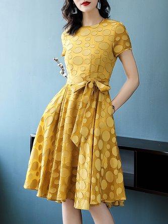 Yellow Midi Dress A-line Date Bow Polka Dots Dress