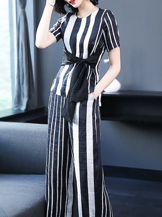 Black-white Bow Short Sleeve Striped Elegant Two Piece Outfits