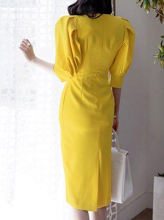 V neck Midi Dress Bodycon Cocktail Balloon Sleeve Slit Dress