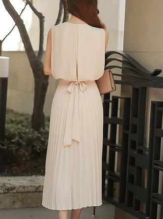Apricot A-line Daytime Sleeveless Chiffon Paneled Plain Maxi Dress