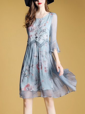 Blue Swing Daytime Casual Chiffon Bell Sleeve Printed Floral Midi Dress