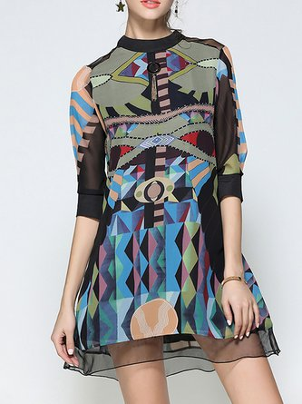 Stand Collar Midi Dress A-line Half Sleeve Chiffon Dress